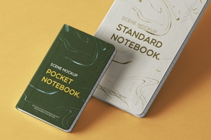 Classic Psd Notebook Set Mockup Scene