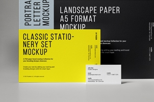 Classic Psd Stationery Set Mockup