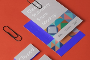 Clipped Psd Stationery Mockup Scene 2