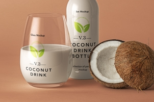 Coconut Drink Psd Bottle Mockup