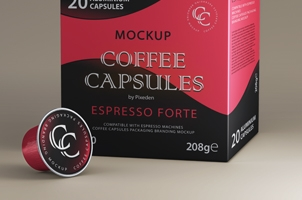 Coffee Pods Psd Packaging Mockup