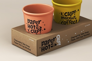 Disposable Psd Paper Cup Mockup