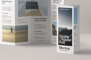 Double Parallel Fold Psd Brochure Mockup