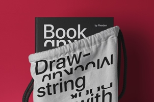 Drawstring Psd Bag Book Mockup Scene