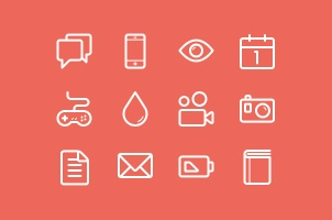 Flat Stroke Line Icons Set Vol1