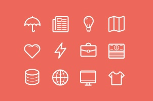 Flat Stroke Line Icons Set Vol2