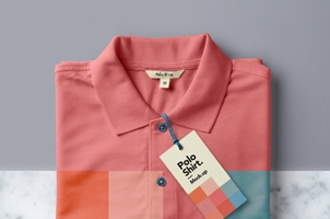 Folded Psd Polo Shirt Mockup
