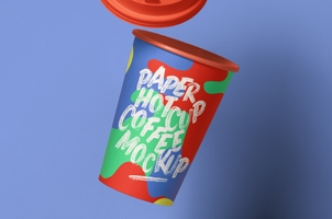 Gravity Psd Paper Hot Cup Mockup 3