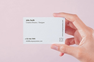 Hand Holding Psd Business Card Mockup 2