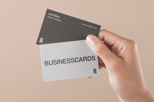 Hand Holding Psd Business Card Mockup 3