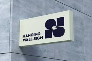 Hanging Psd Wall Sign Mockup