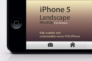 iPhone 5 Psd Landscape Mockup