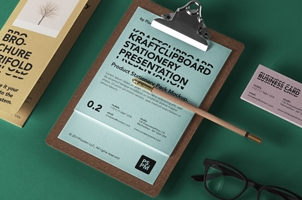 Kraft Clipboard Psd Menu Mockup 2