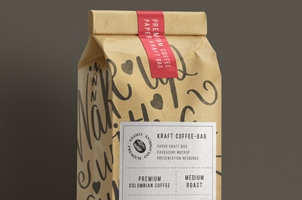 Kraft Coffee Bag Packaging Mockup