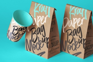 Kraft Paper Psd Coffee Bag Mockup