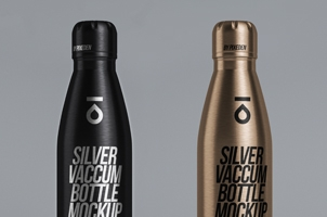 Metal Psd Vacuum Bottle Mockup