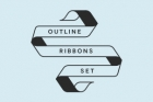 Outline Flat Ribbon Vector Set