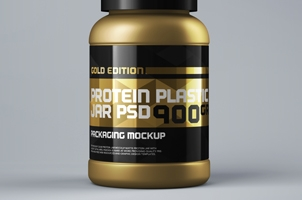 Packaging Psd Protein Jar Mockup