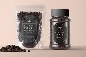 Plastic Coffee Packaging Mockup