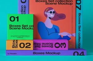 Psd Boxes Packaging Mockup Scene