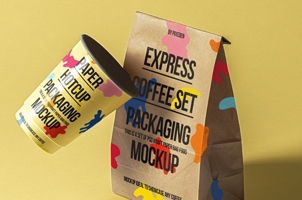 Psd Coffee Packaging Mockup Set