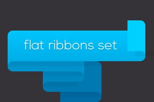 Psd Flat Ribbons Set