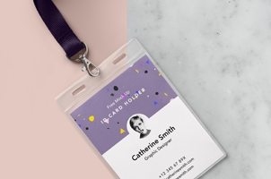 Psd Identity Card Holder Mockup Vol2