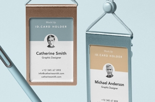 Psd Identity Card Holder Mockup Vol3