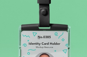 Psd Identity Card Holder Mockup Vol4