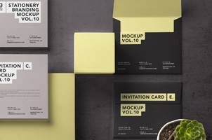Psd Invitation Card Mockup Vol11