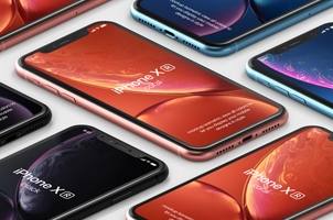 Psd iPhone XR Mockup Isometric Vol1