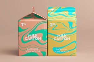 Psd Milk Packaging Mockup Set 2