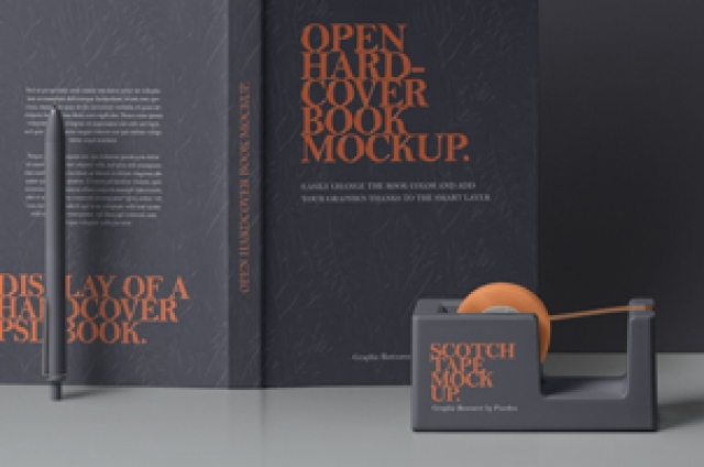 Psd Open Hardcover Book Mockup 3