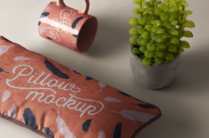 Psd Rectangular Pillow Mockup Scene