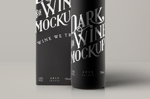 Psd Red Wine Dark Bottle Mockup