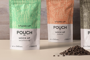 Psd Stand Up Coffee Pouch Mockup Vol4