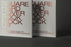 Square Book Psd Hardcover Mockup