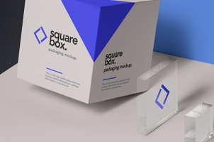 Square Psd Box Packaging Mockup