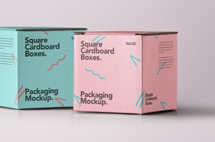 Square Psd Cardboard Box Mockup Vol2