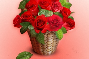 Vector Roses Basket