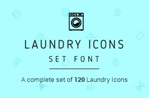 Washing Laundry Icon Font Set
