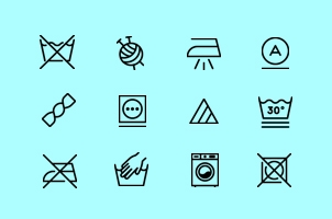 Washing Laundry Icons Set
